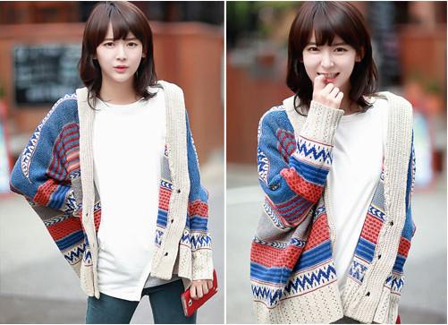 Áo khoác len họa tiết thổ cẩm đa phong cách