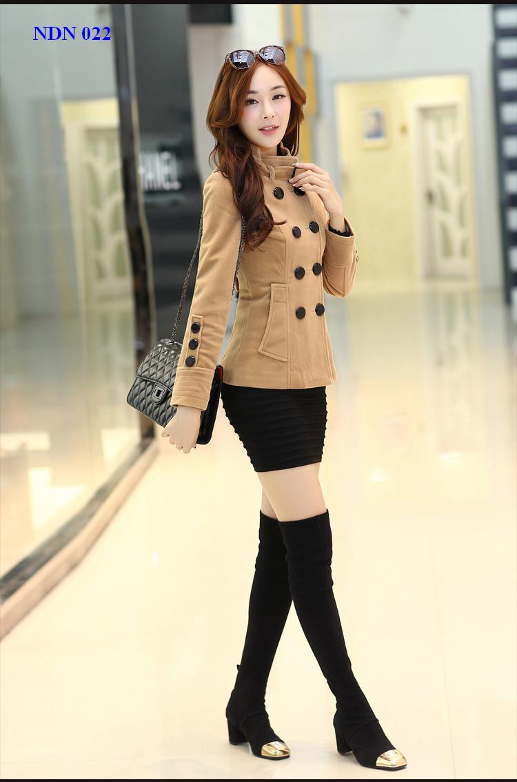Áo khoác măng tô ngắn nữ công sở đẹp thu đông duyên dáng